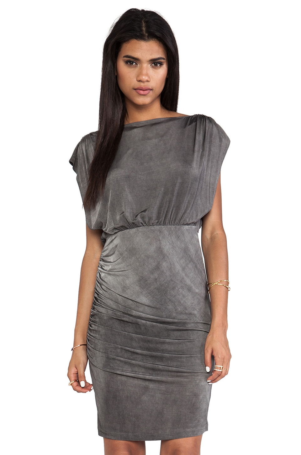 Alice + Olivia High Cowl Ruched Skirt Dress in Charcoal