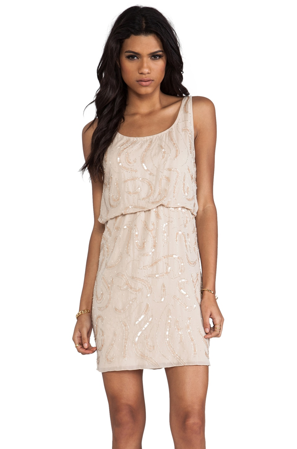 Alice + Olivia Gabby Beaded Blouson Tank Dress in Nude