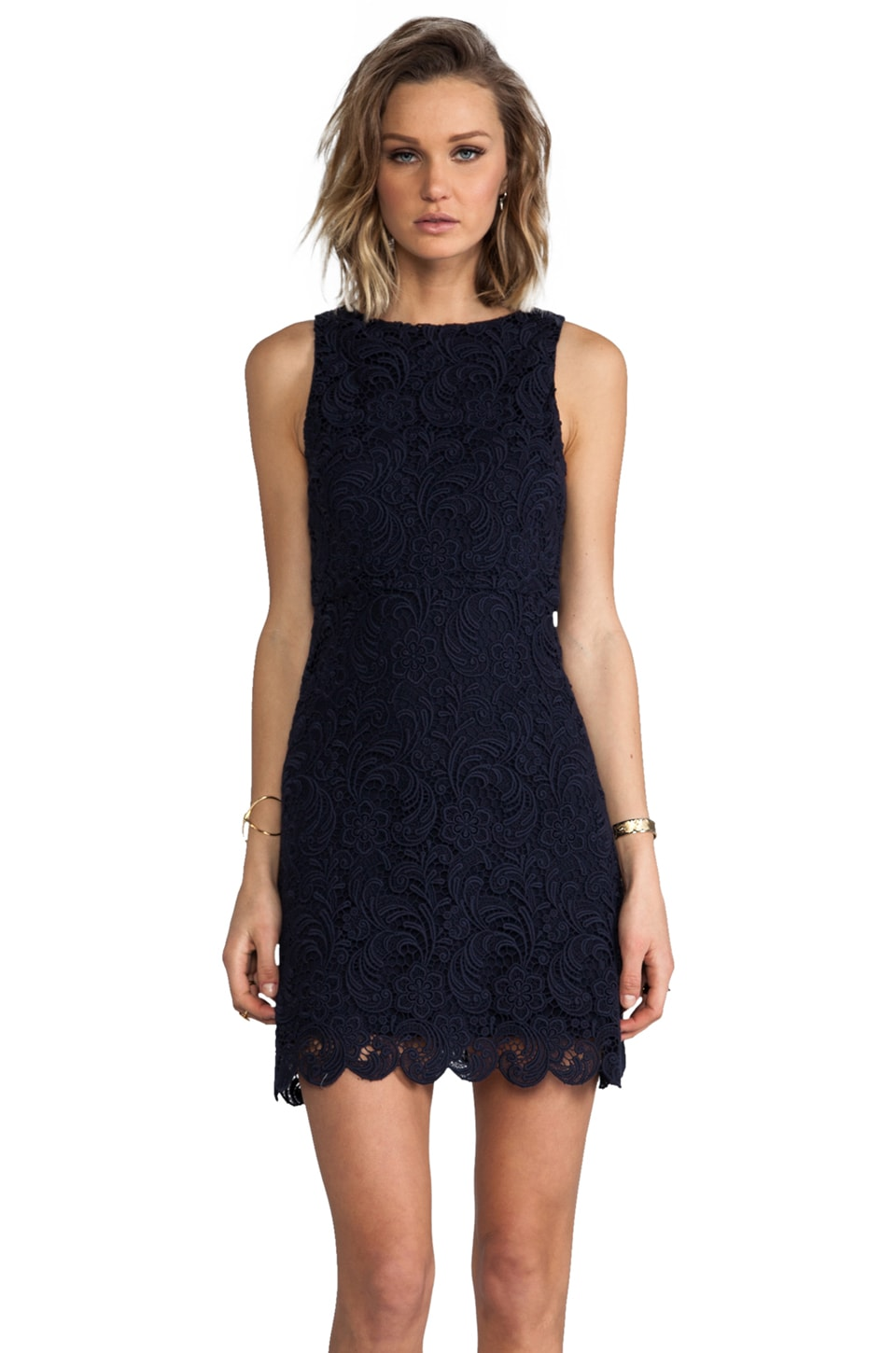 Alice + Olivia Ingrid A-Line Dress in Navy