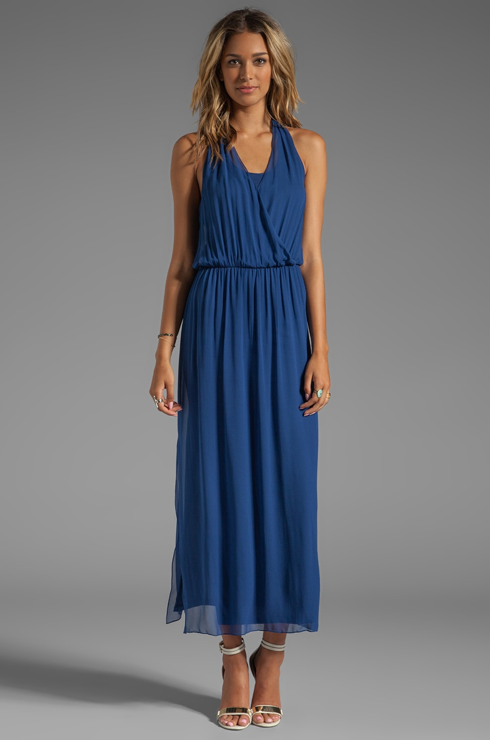 Alice + Olivia Mora Wrap-Front Halter Dress in Navy