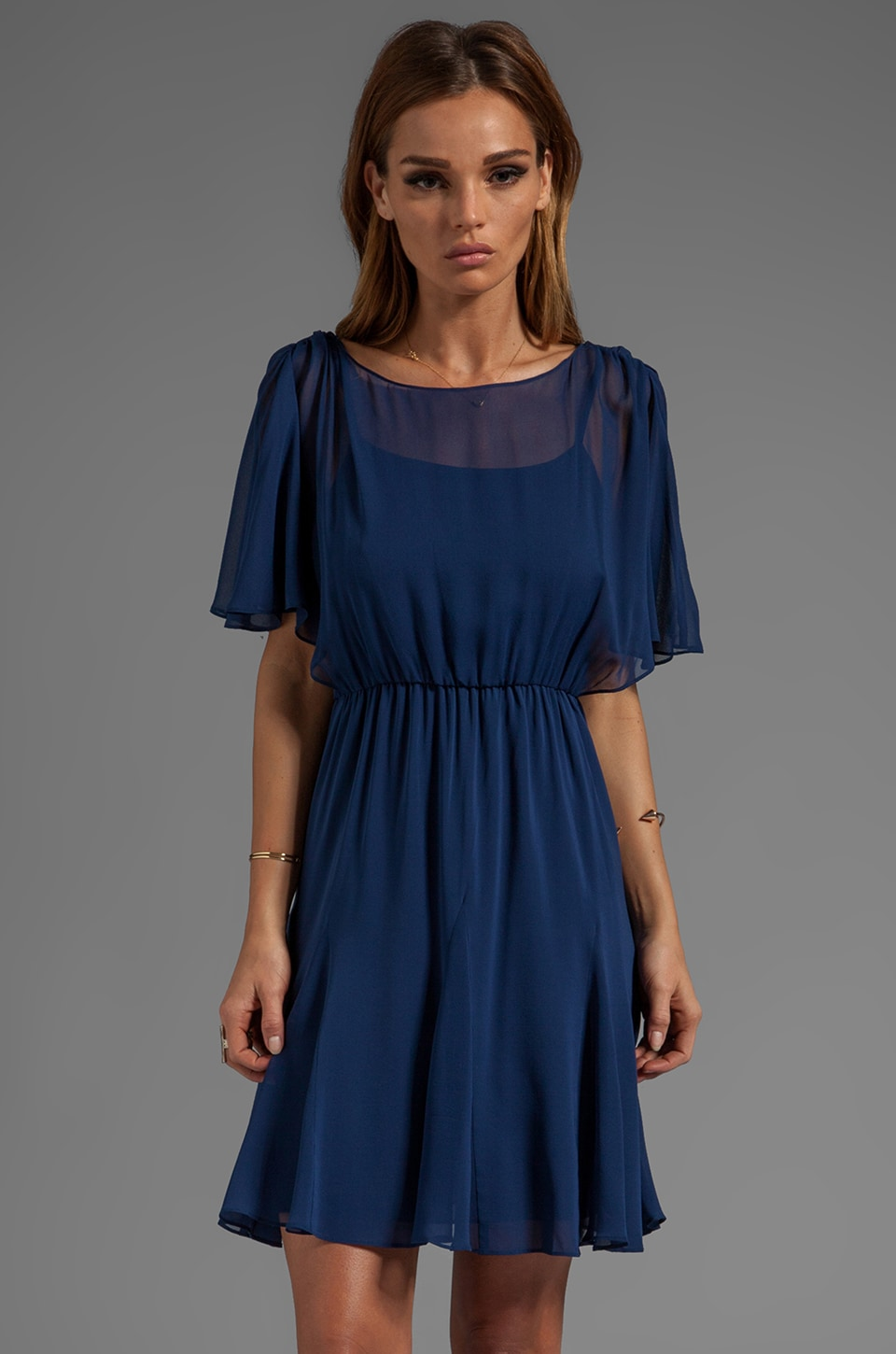 Alice + Olivia Phaedra Pleated Godet Flutter Top Dress in Indigo