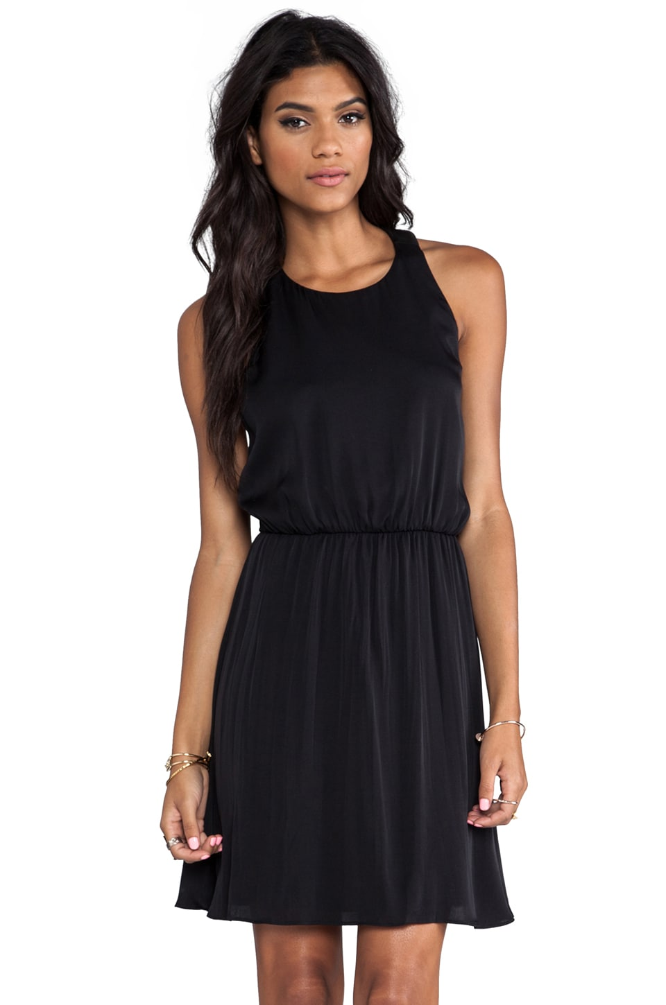 Alice + Olivia Kalista High Neck T-Back Dress in Black
