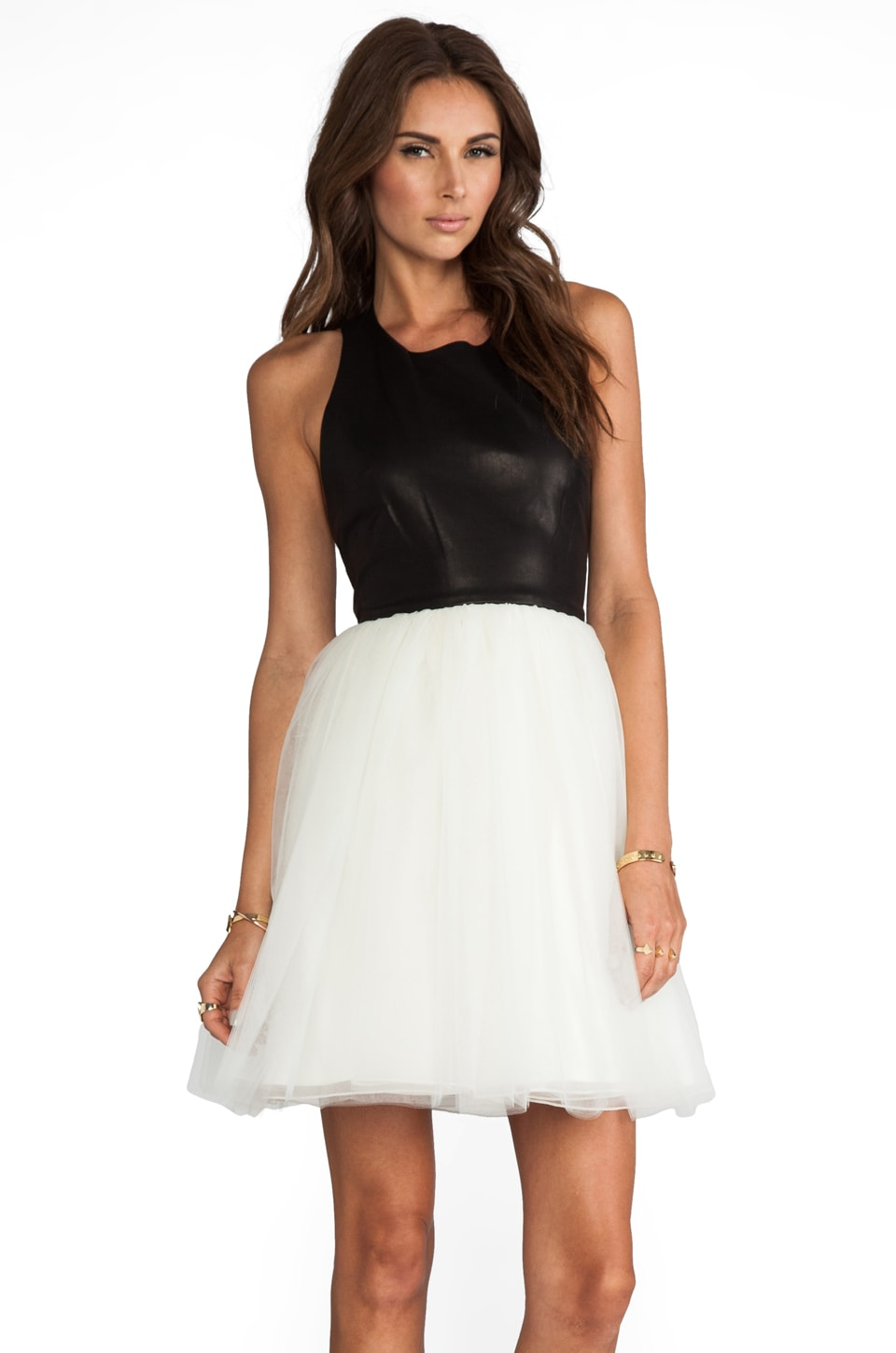Alice + Olivia Ginnifer Leather Top T-Back Party Dress in Black