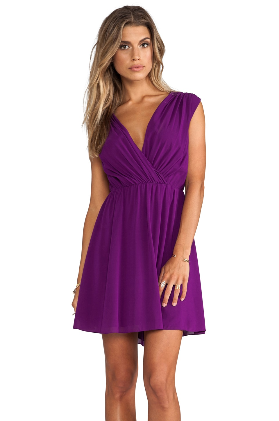 Alice + Olivia Linda Crossover Top Dress in Electric Plum
