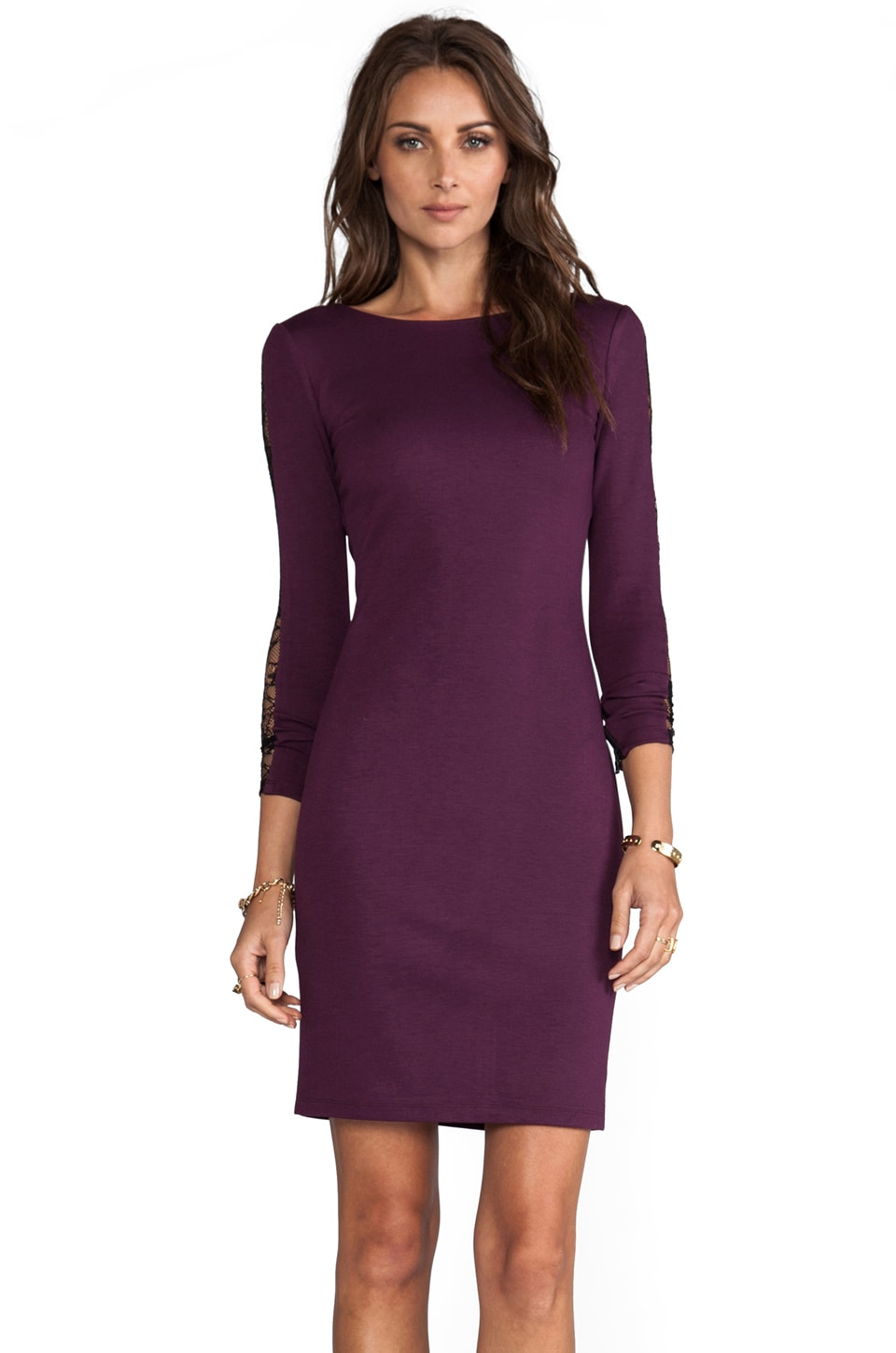 Alice + Olivia Dionne Strong Shoulder Diamond Back Dress in Deep Grape