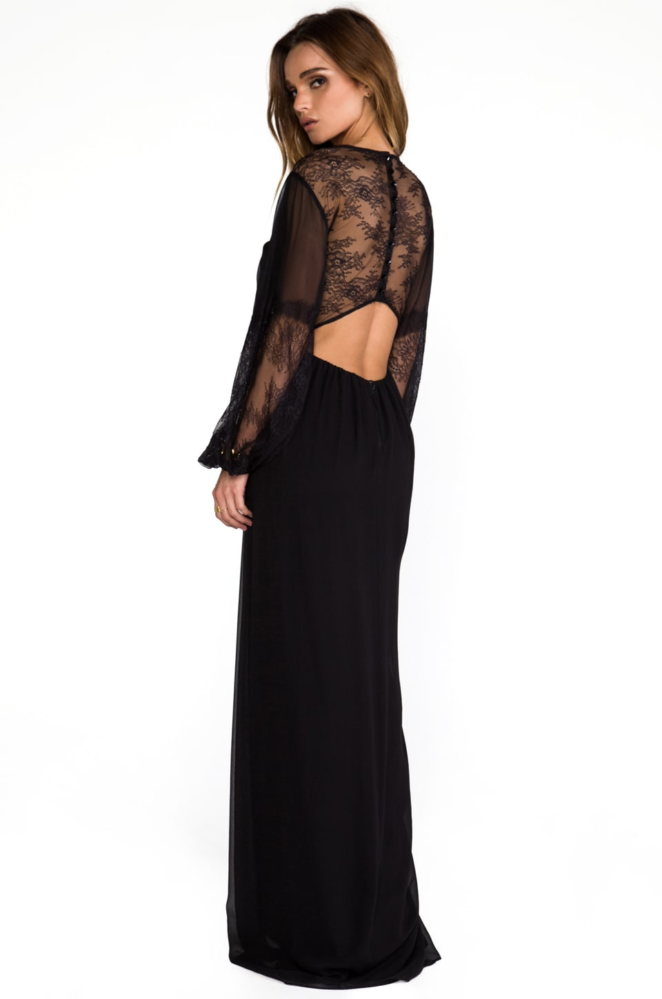 Alice + Olivia Saori Blouson Sleeve Maxi Dress in Black
