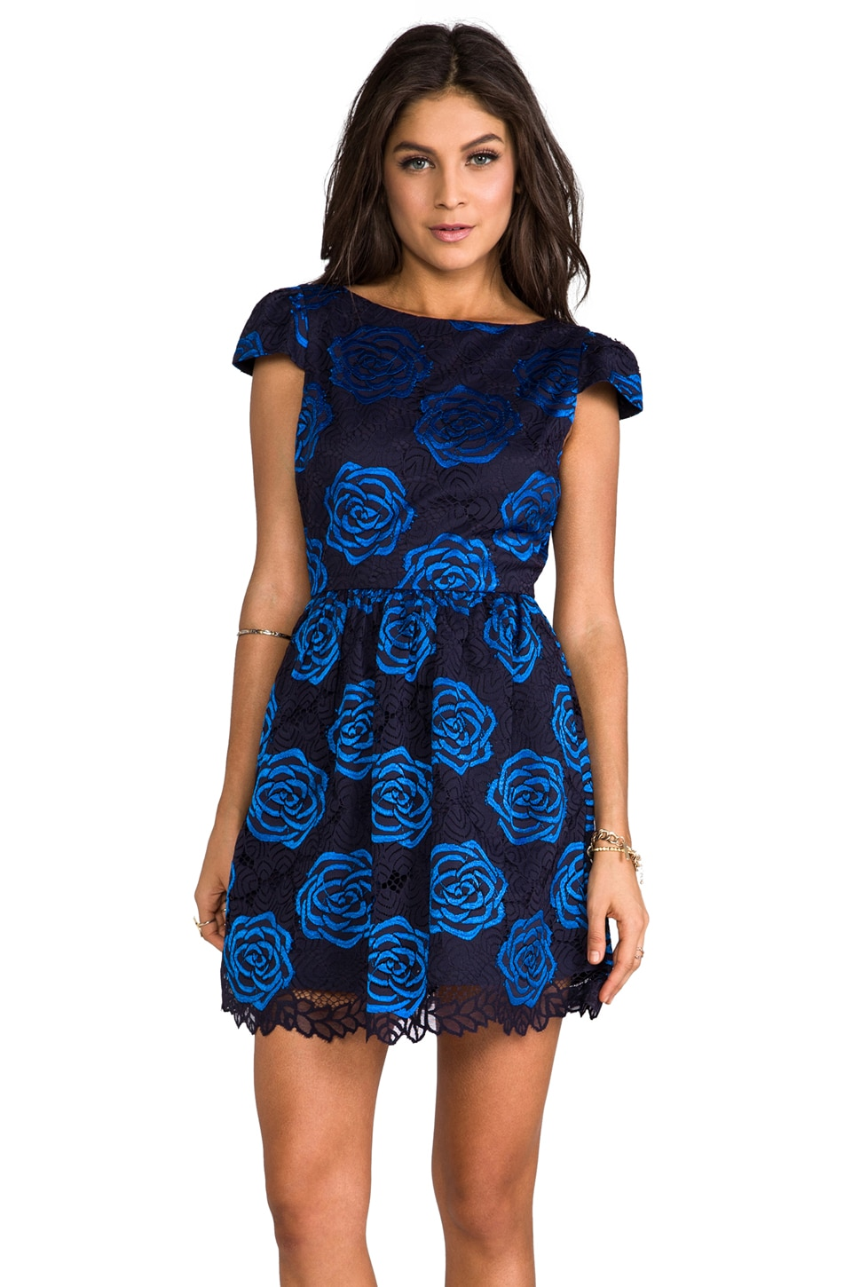 Alice + Olivia Nelly Puffed Short Sleeve Dress in Black/Blue