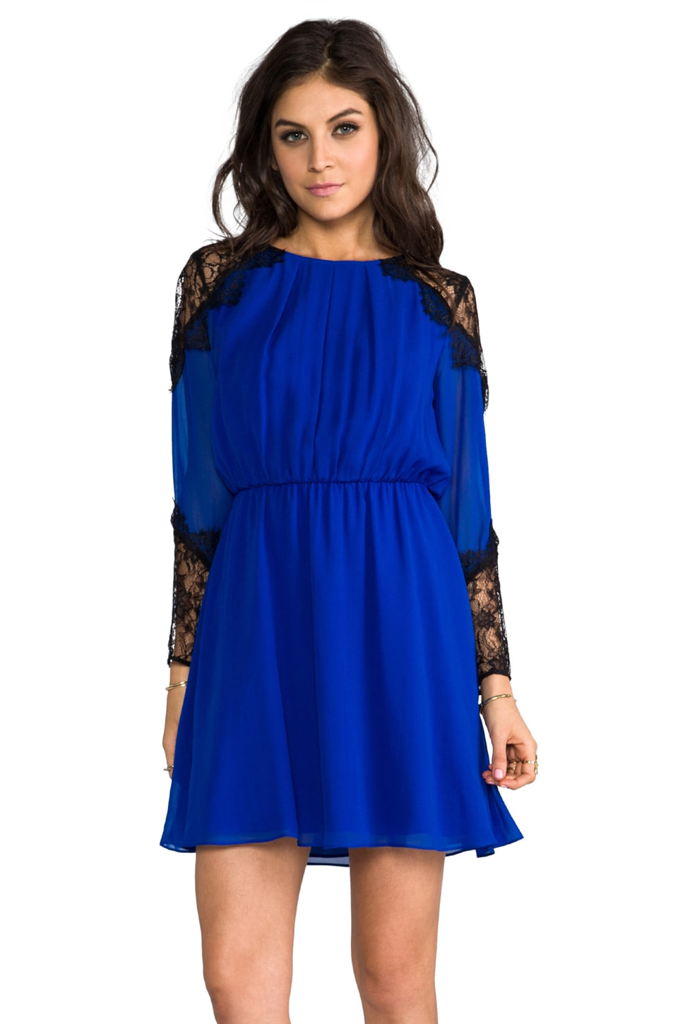Alice + Olivia Dany Lace Shoulder Pleat Front Dress in Cobalt