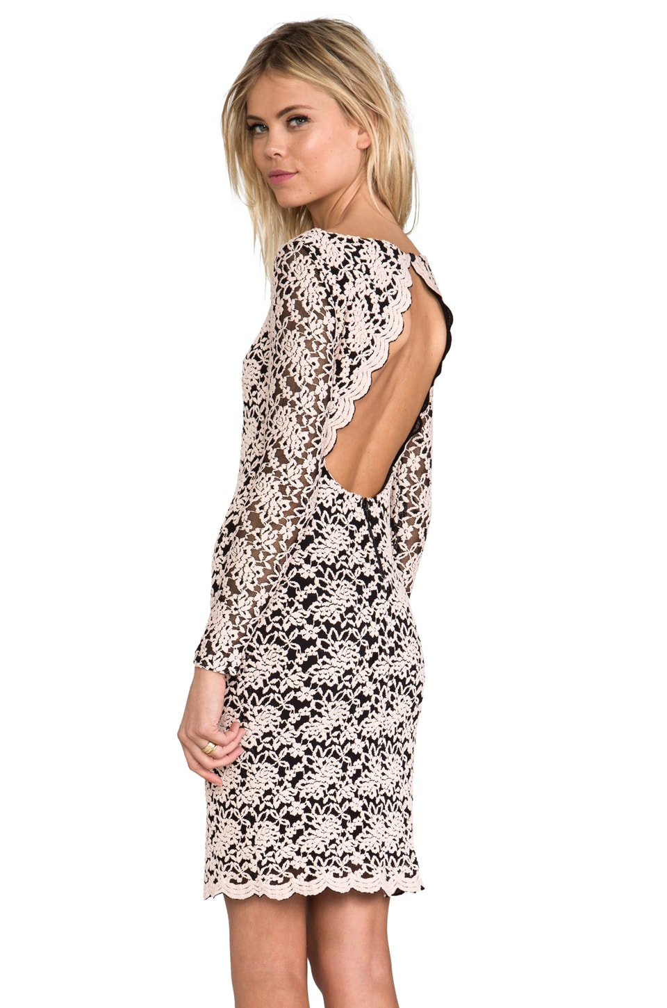 Alice + Olivia Khloe Open Keyhole Back Dress in Black/Pink