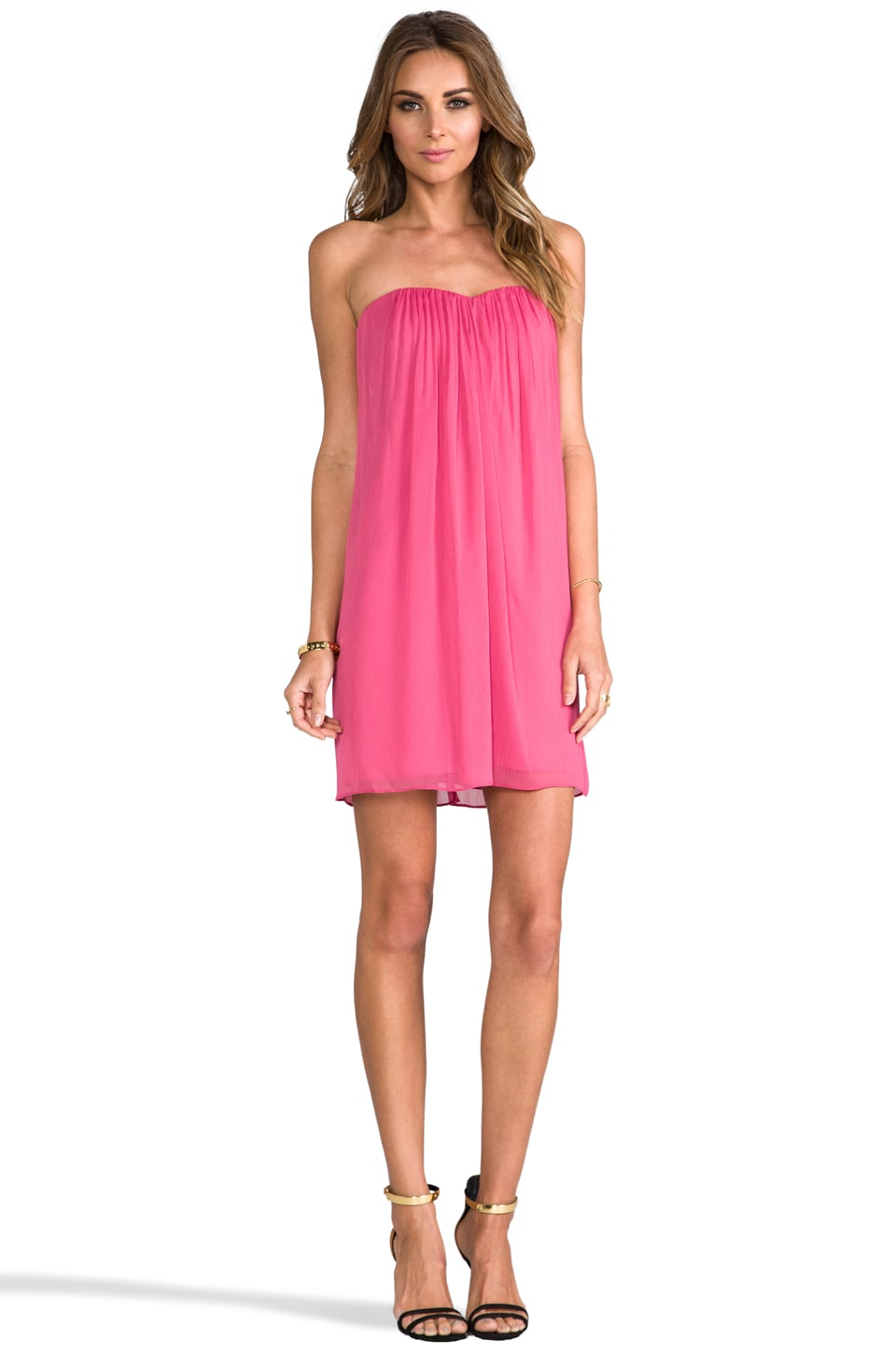 Alice   Olivia Jazz Center Drape Strapless Dress in Pink  REVOLVE