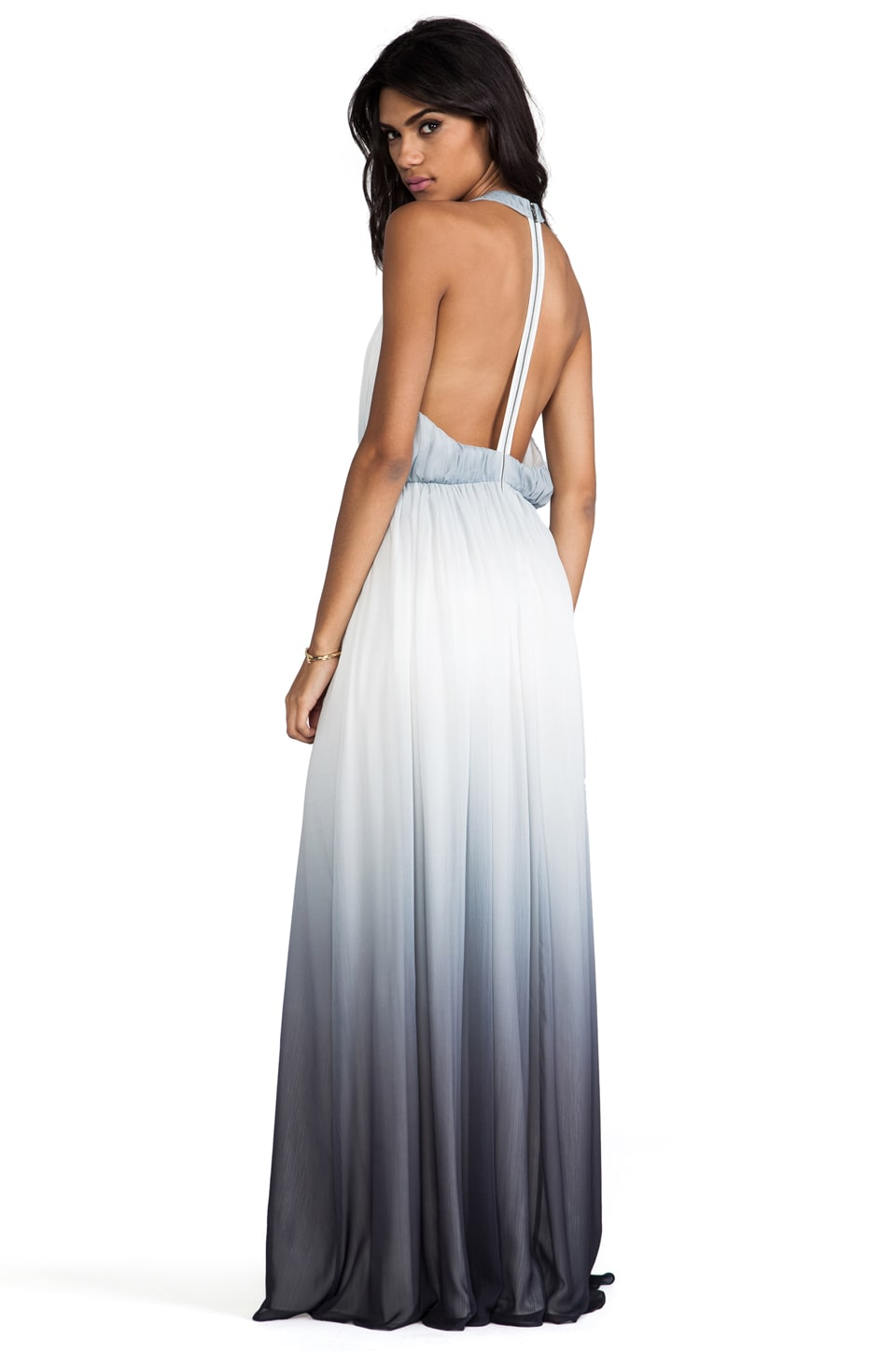 Alice + Olivia Jinny Gathered Sleeveless T-Back Long Dress in Greyscale Ombre