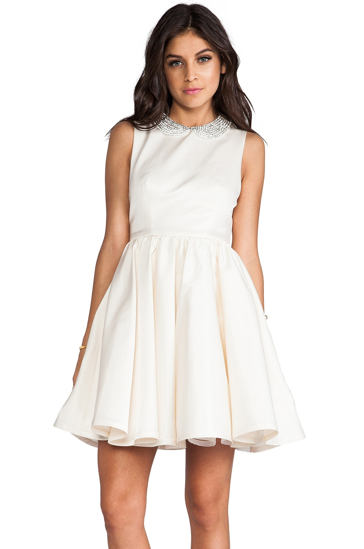Alice + Olivia Lollie Flowy Peterpan Collar Dress in Cream Multi
