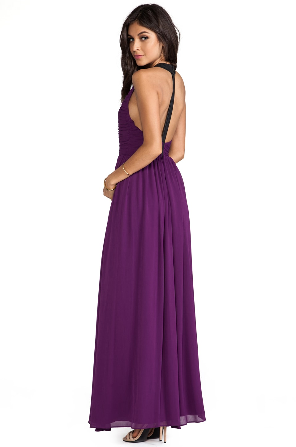 Alice + Olivia Runie Ruched Bodice Leather T-Back Maxi Dress in Electric Plum