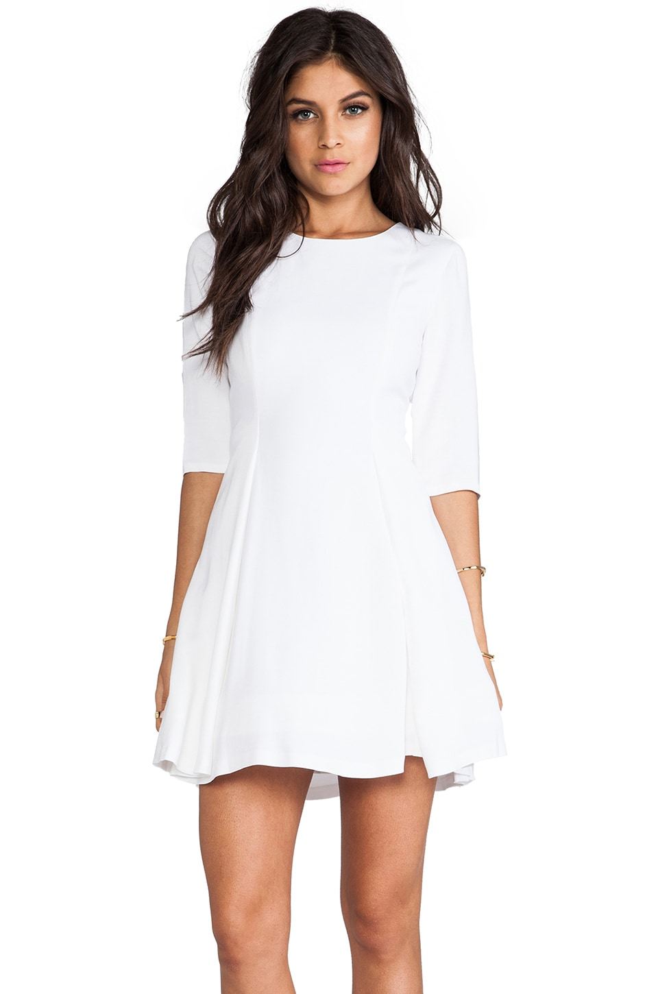 Alice + Olivia Zoisa 3/4 Sleeve Pleated Flare Dress in White