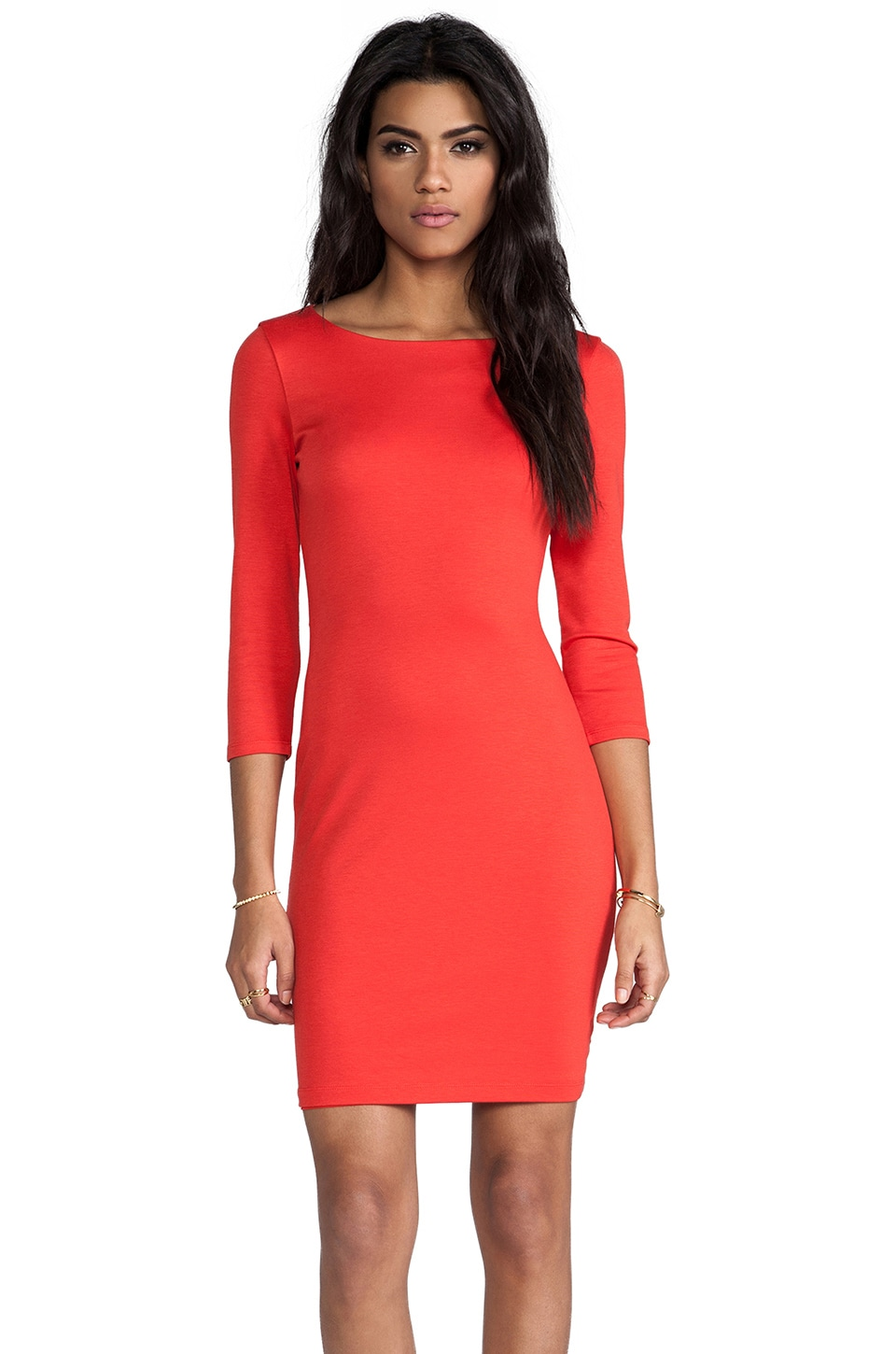 Alice + Olivia Selby 3/4 Sleeve Cutout Back Dress in Poppy