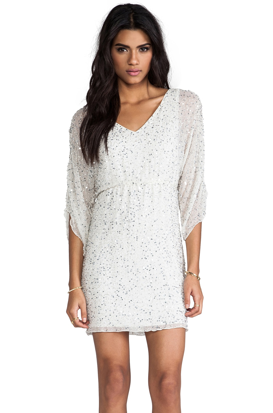 Alice + Olivia Olympia Embellished Tunic Dress in White Multi