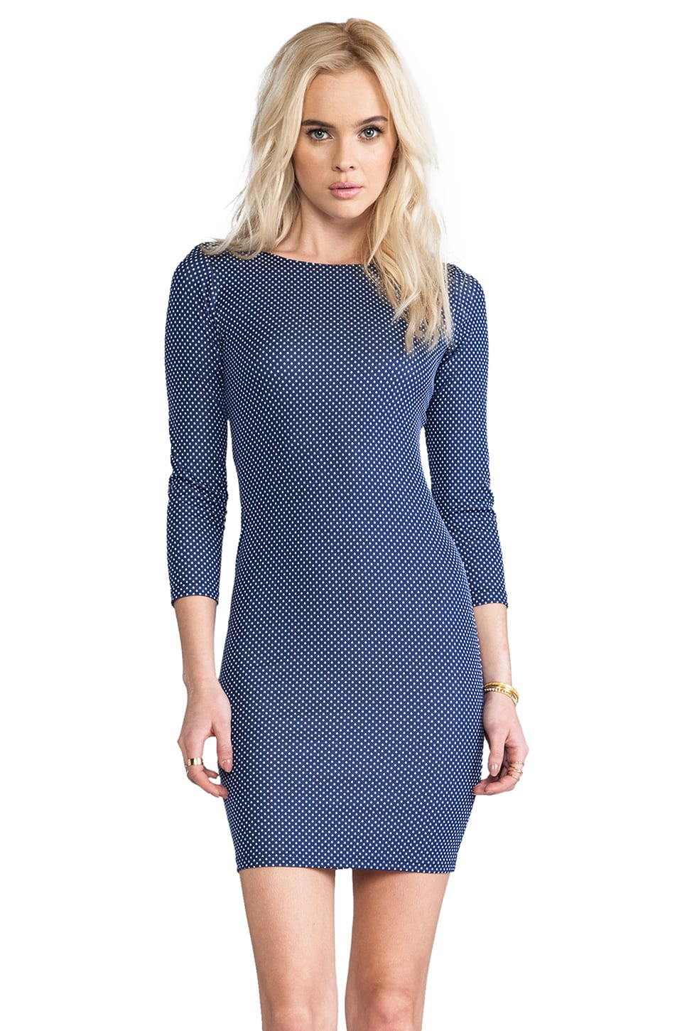 Alice + Olivia Kal Open Back Fitted Long Sleeve Dress in Navy