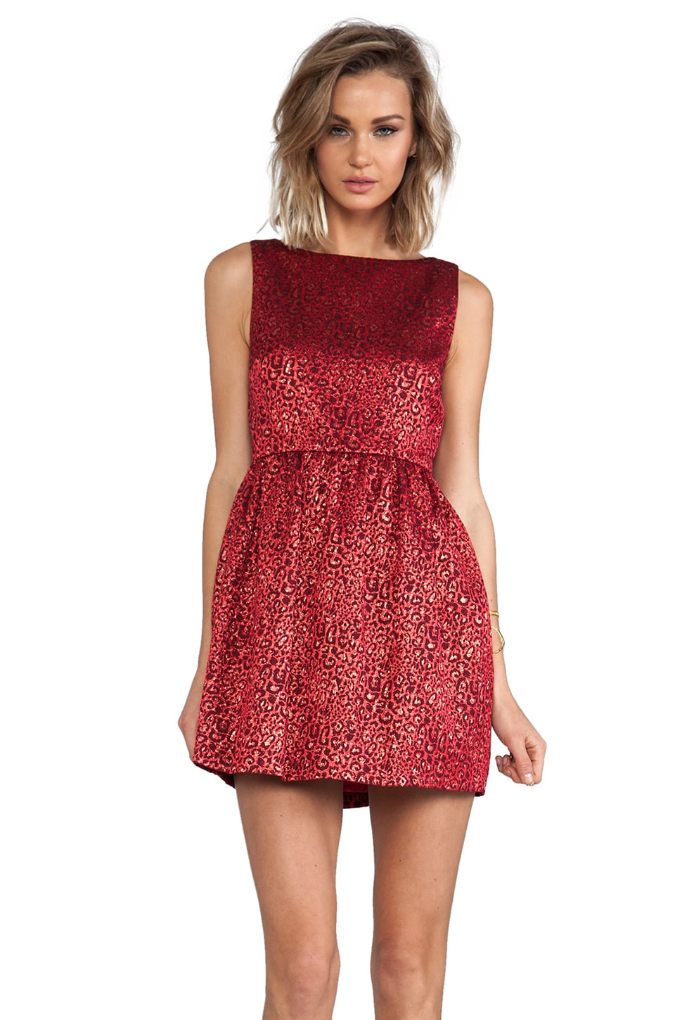 Alice + Olivia Vita Sleeveless Tulip Dress in Red