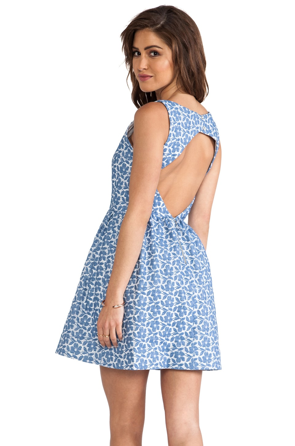 Alice + Olivia Lillyanne Puff Skirt Mini Dress in Blue