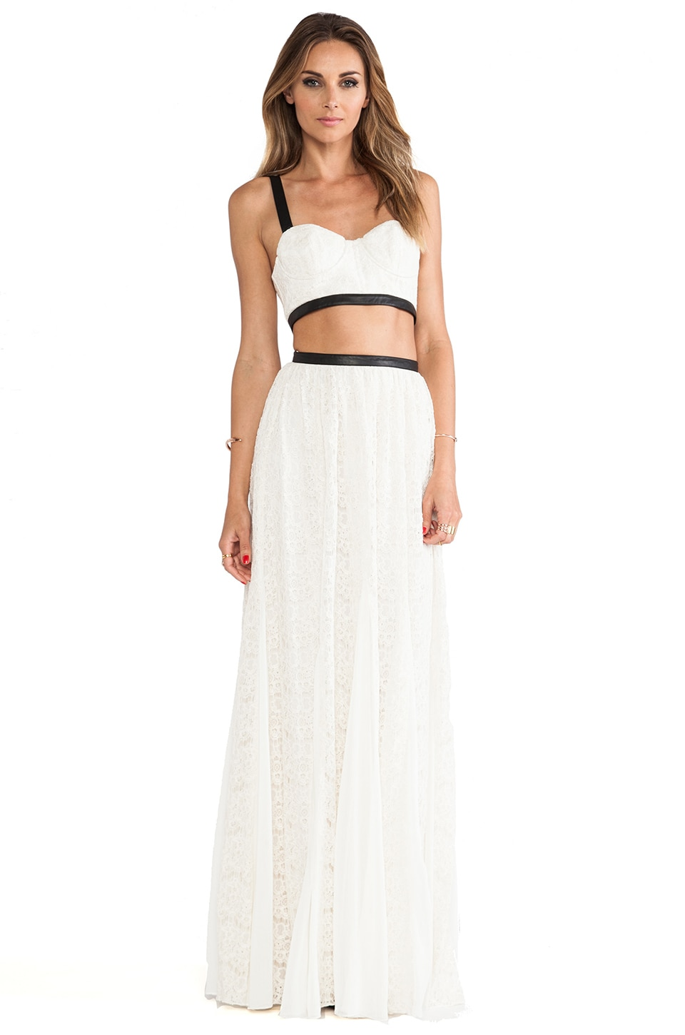 Alice + Olivia Sveva Cut Out Maxi Dress in Ivory