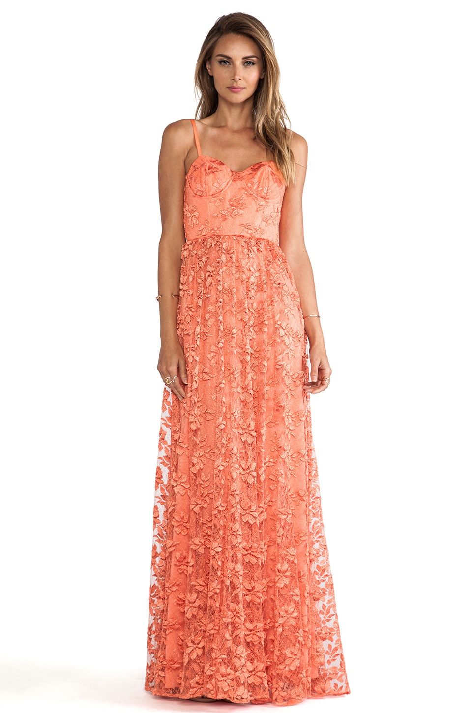 Alice + Olivia Tyler Flowy Maxi Dress in Orange