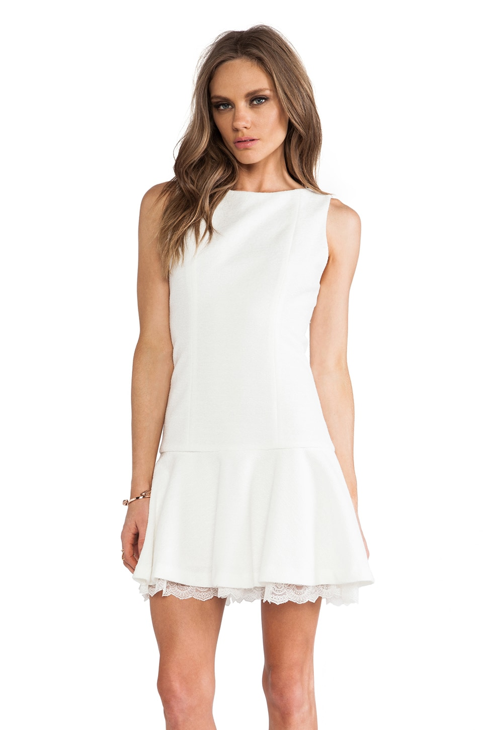 Alice + Olivia Kaya Drop Waist Dress in White
