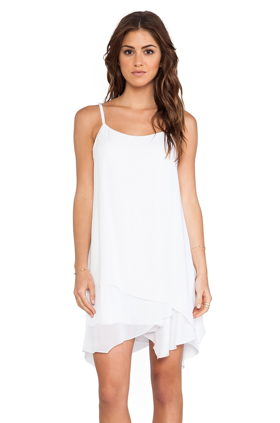 Alice + Olivia Anika Layered Tank Dress in White