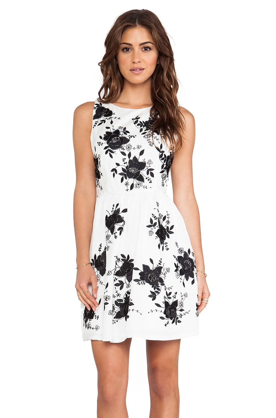 Alice + Olivia Lillyanne Embellished Pouf Dress in Off White & Black