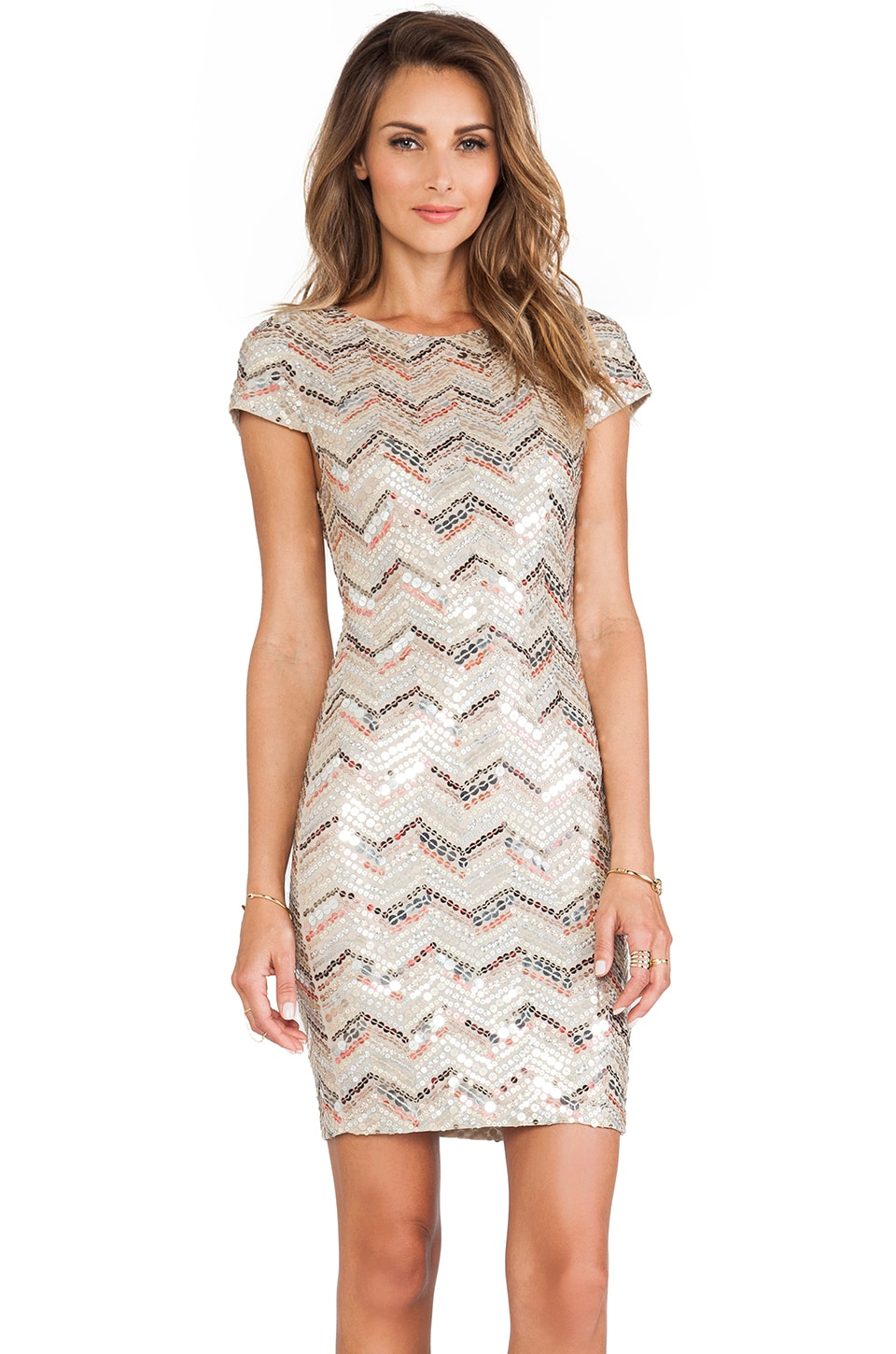 Alice + Olivia Taryn Sequin Cap Sleeve Dress in Nude & Red & Gold