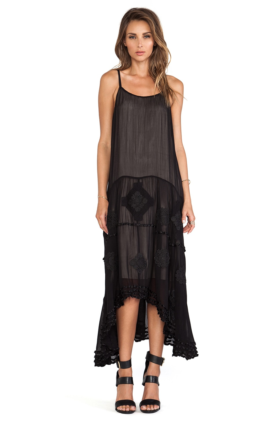 Alice + Olivia Dejas Embroidered Trapeze Dress in Black