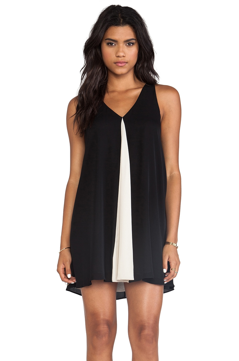Alice + Olivia Rola Front Godet Leather T-Back Dress in Black & Natural