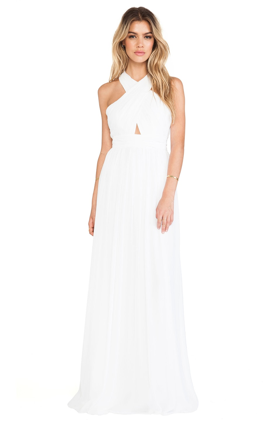 Alice + Olivia Jaelyn Cross Top Flare Dress in White
