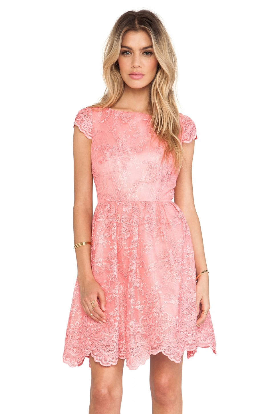 Alice + Olivia Zenden Scallop Edge A-Line Dress in Pink Iciing