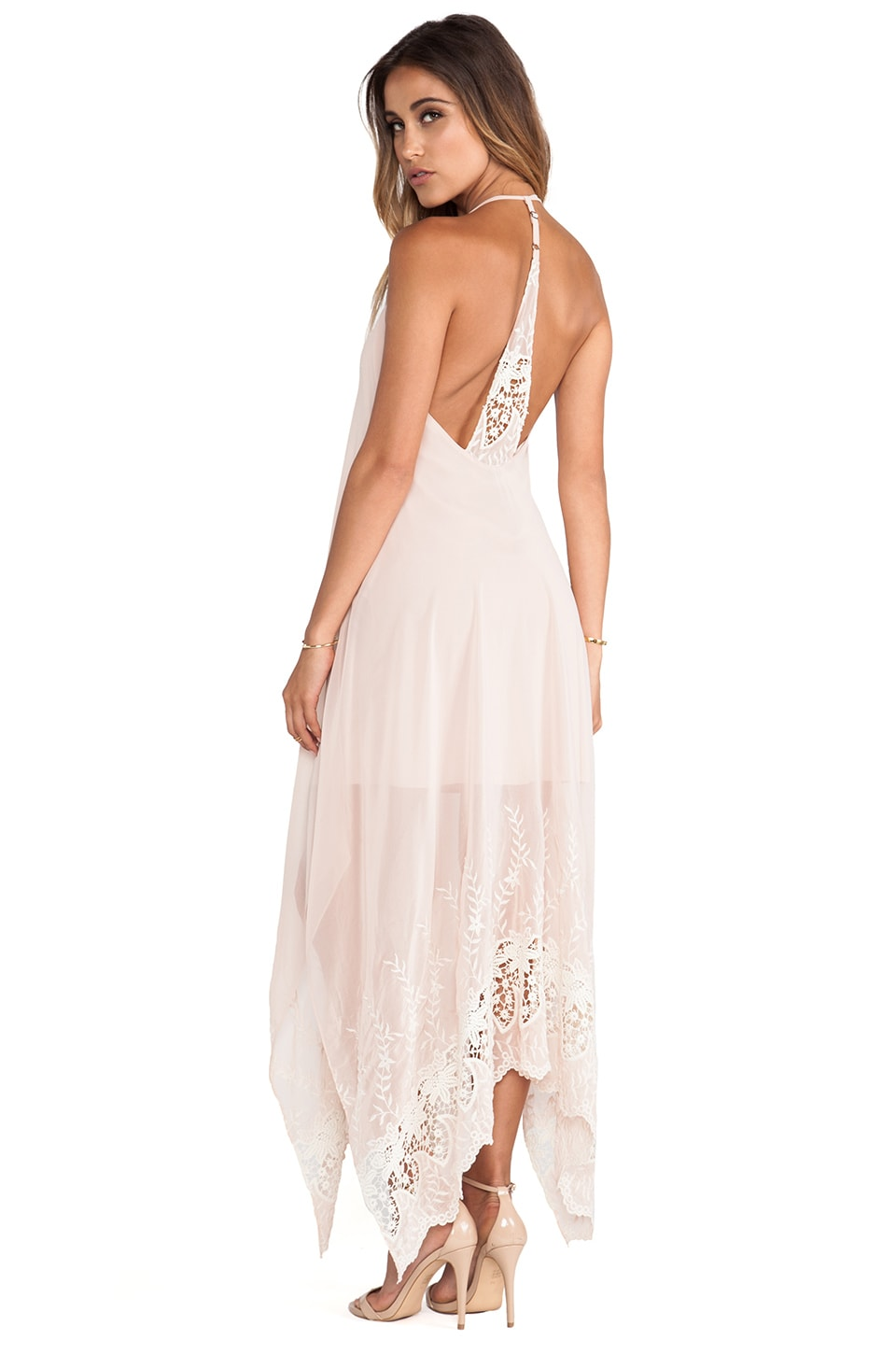 Alice + Olivia Messi Embroidered Halter Dress in Nude Lip