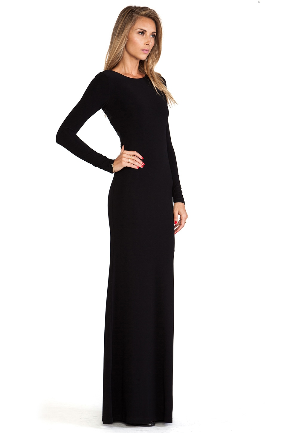 Plain black long sleeve maxi dress - Best dress image