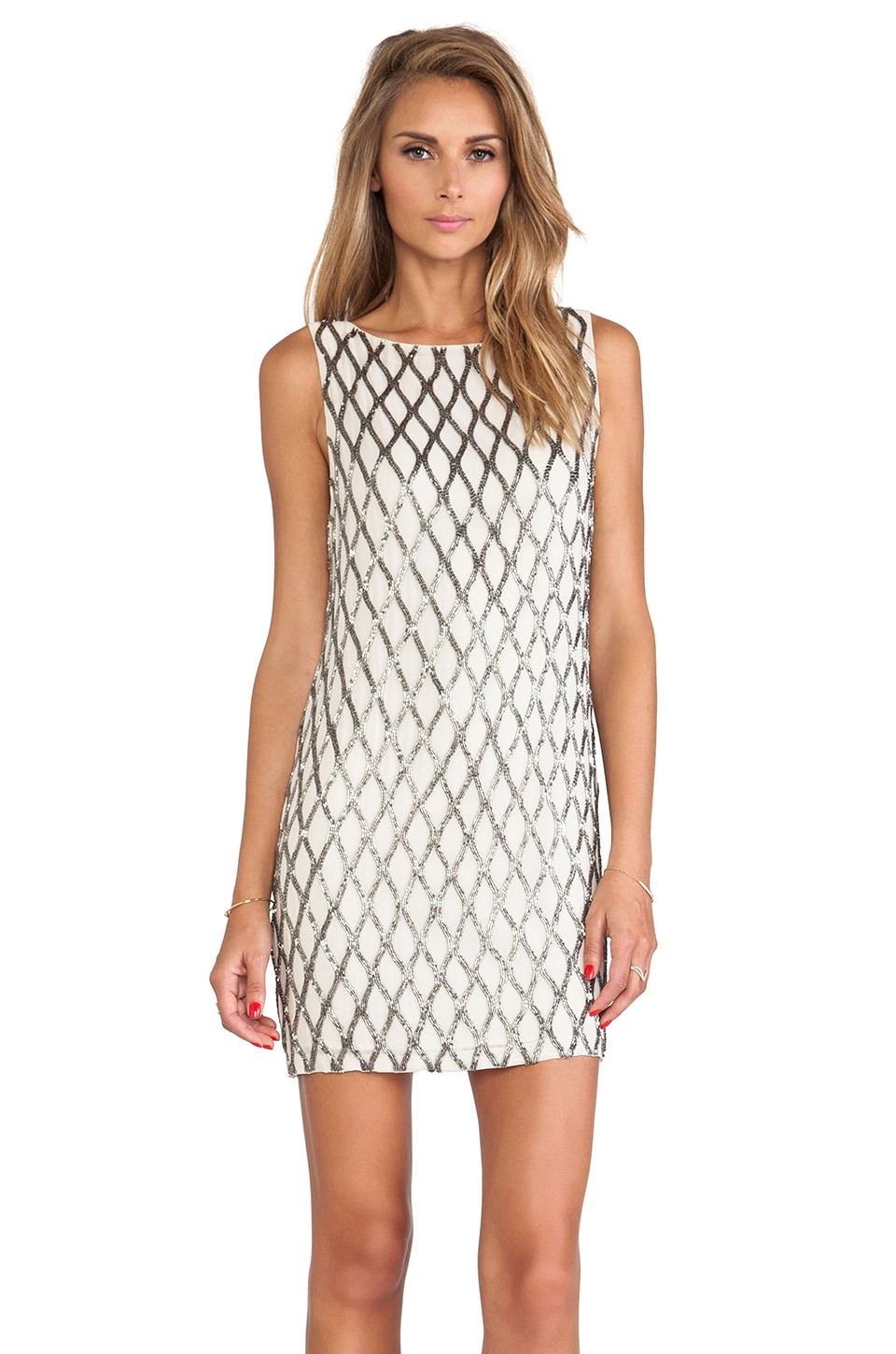 Alice + Olivia Dalyla Beaded Dress in Stone & Gunmetal