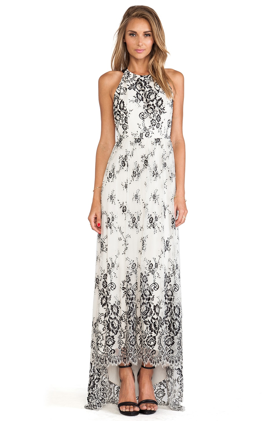 Alice + Olivia Isla T-Back Maxi Dress in Black & Cream