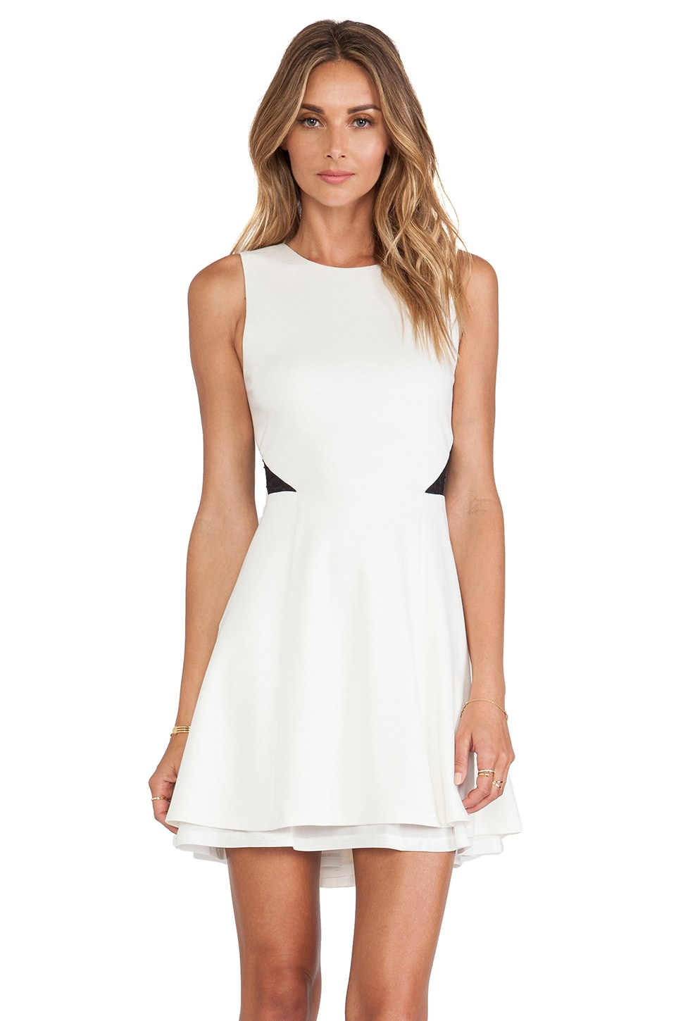 Alice + Olivia Evan Fit & Flare Dress in Cream