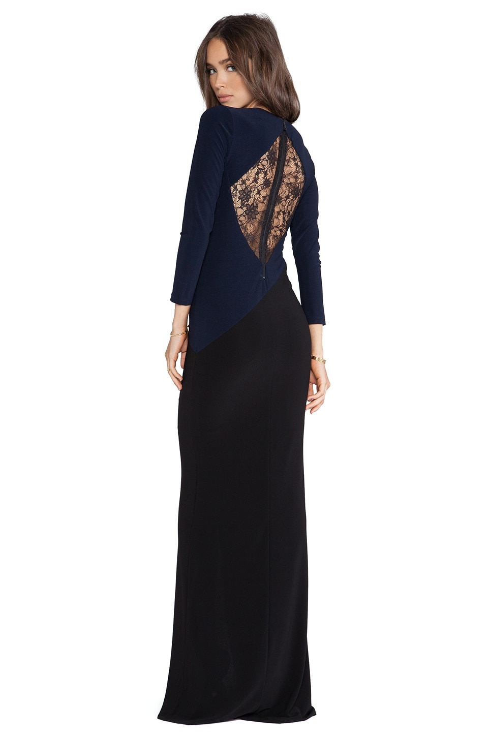 Alice + Olivia Stella V Neck Maxi Dress in Navy & Black