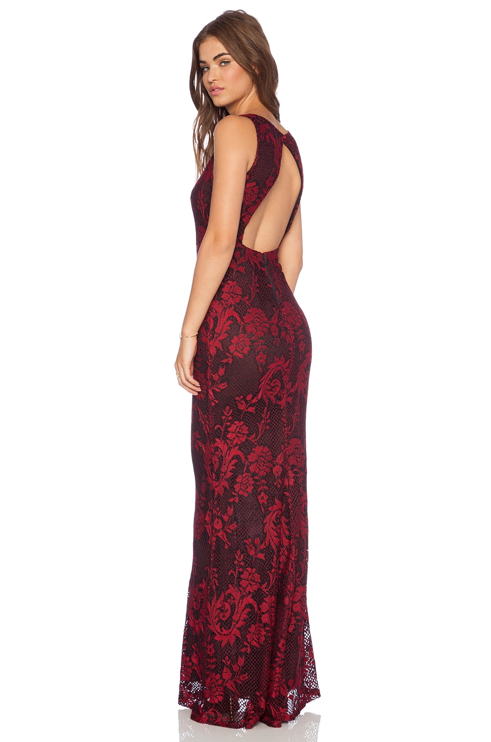 Alice + Olivia Veda Open Back Maxi Dress in Red & Black