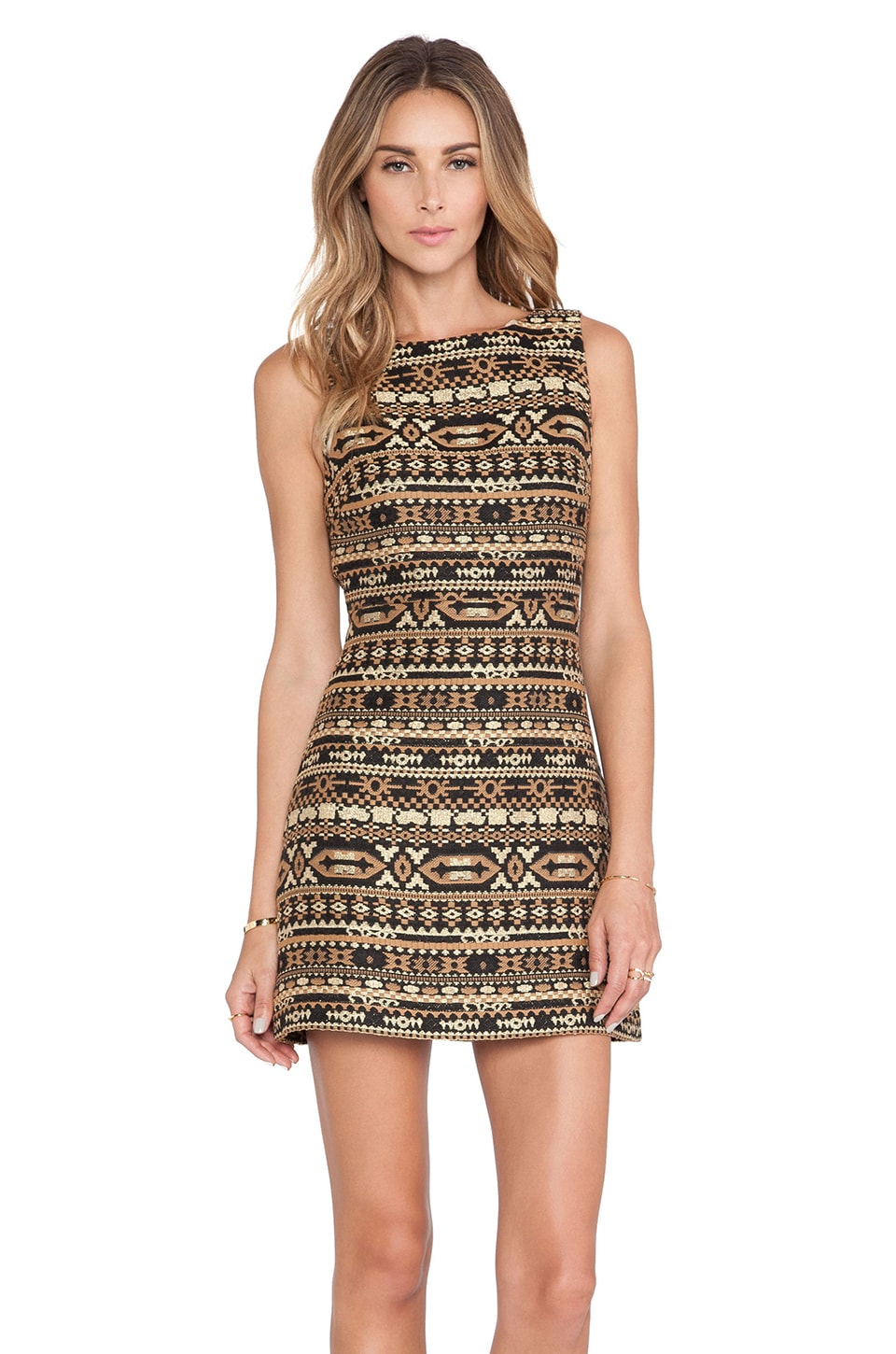 Alice + Olivia Wilcox Shift Dress in Black & Gold