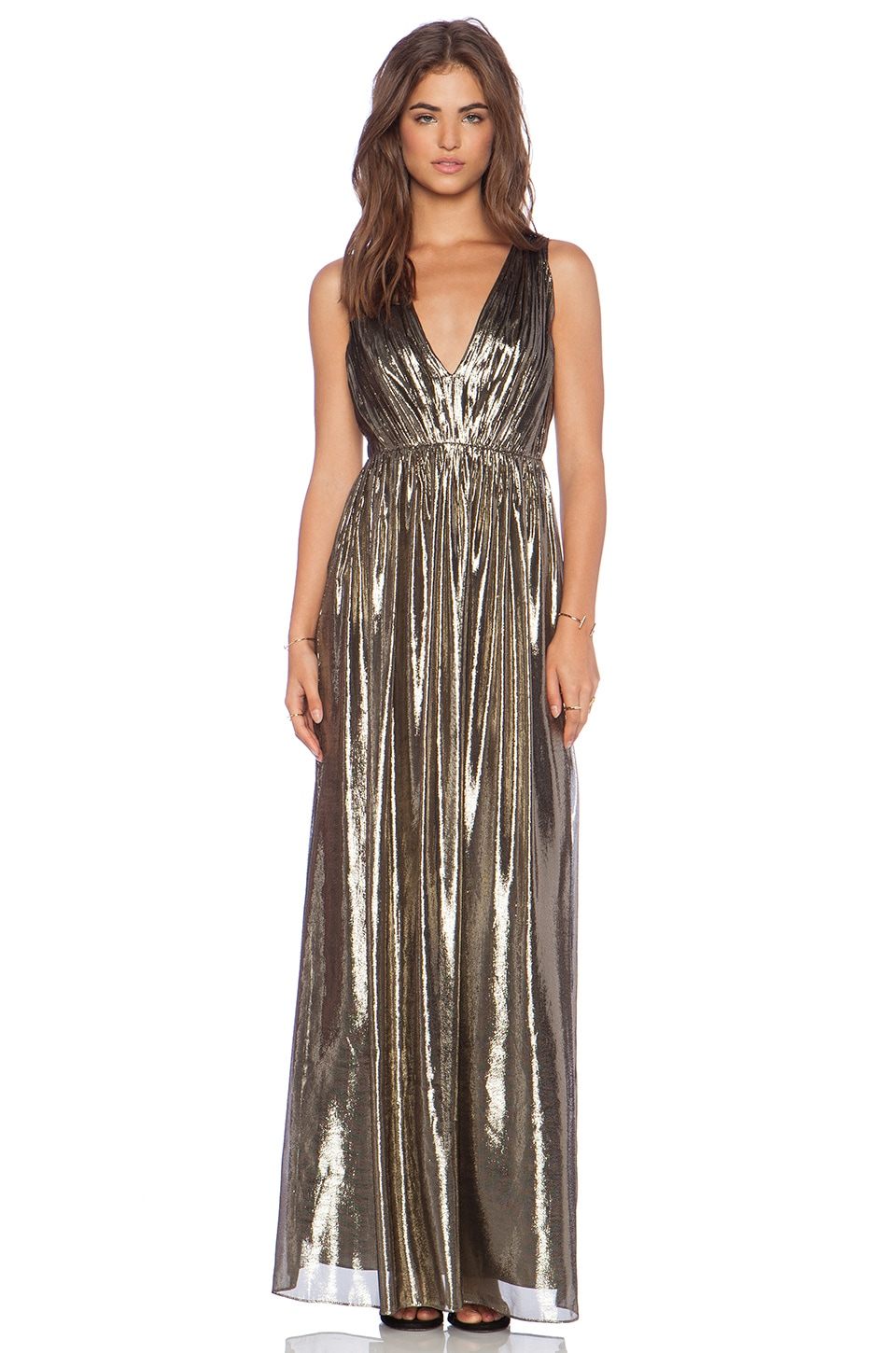 Alice   Olivia Issa Pleated Maxi Dress in Bronze | REVOLVE