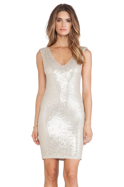 Alice + Olivia Embellished V Neck Mini Dress in Nude & Pale Gold