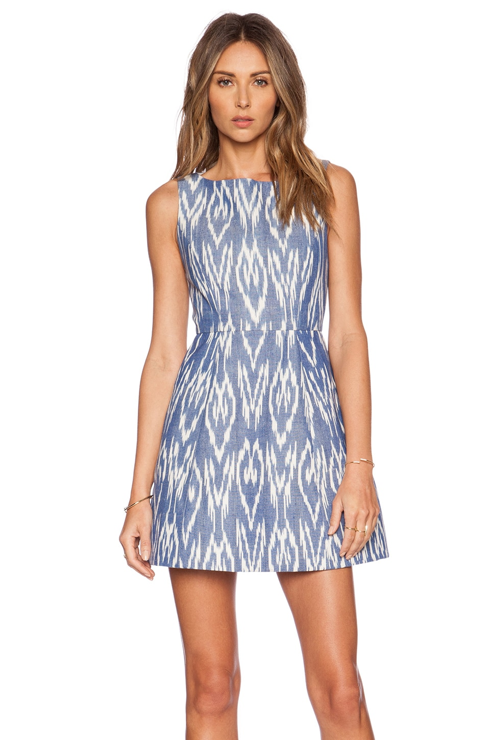 Alice + Olivia Epstein Structured Dress in Blue & White