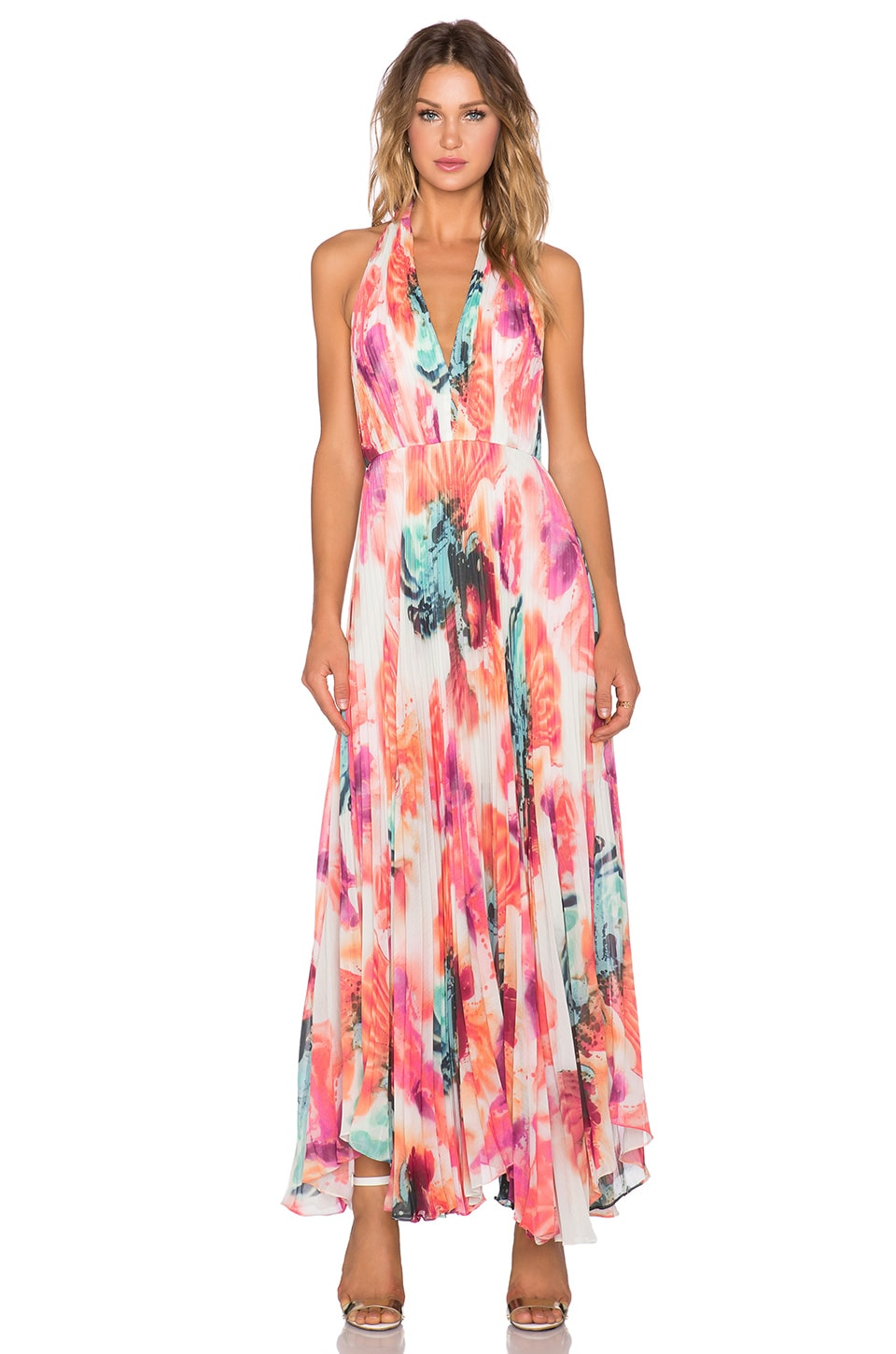Alice + Olivia Claire Pleated Maxi Dress in Abstract Pigment