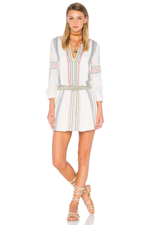 Alice + Olivia Jolene Embroidered Dress in Cream Multi