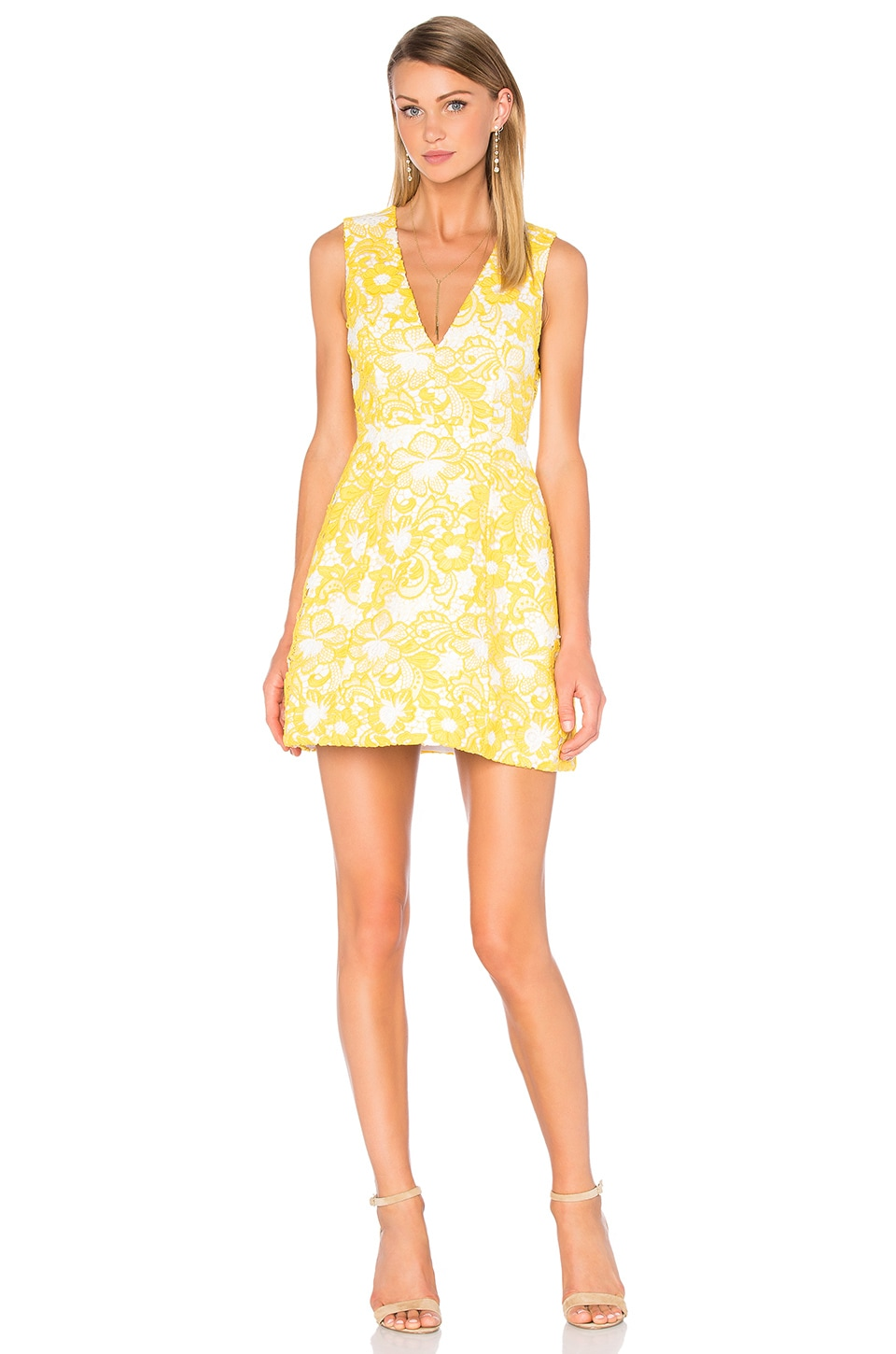 Alice + Olivia Pacey Embroidered Dress in Yellow & White
