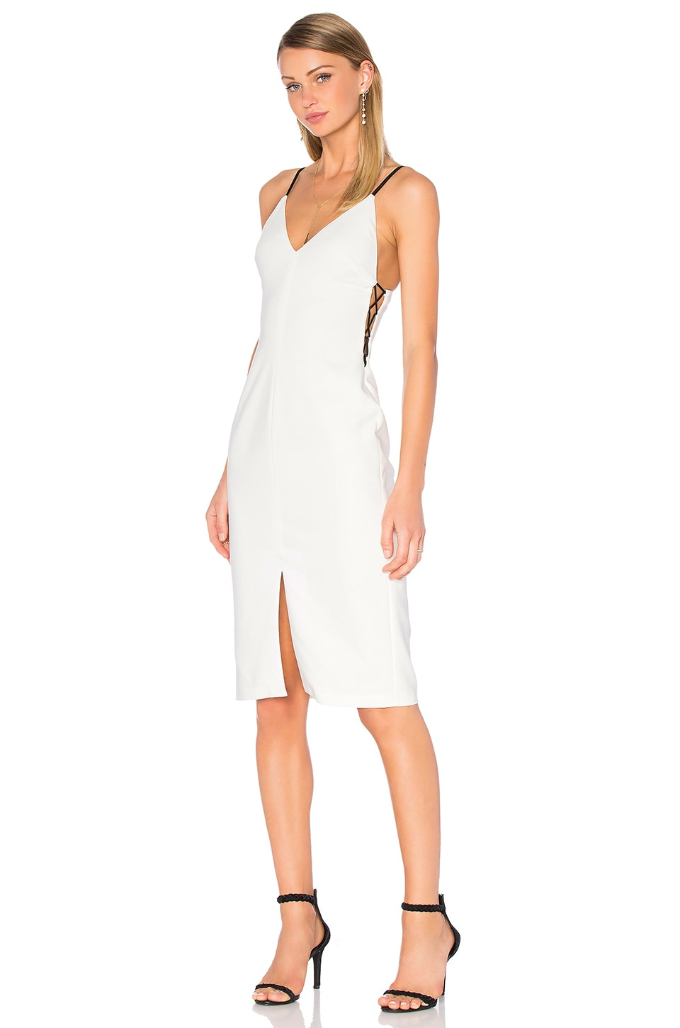 Alice   Olivia Sofie Lace Up Side Dress in Off White & Black | REVOLVE