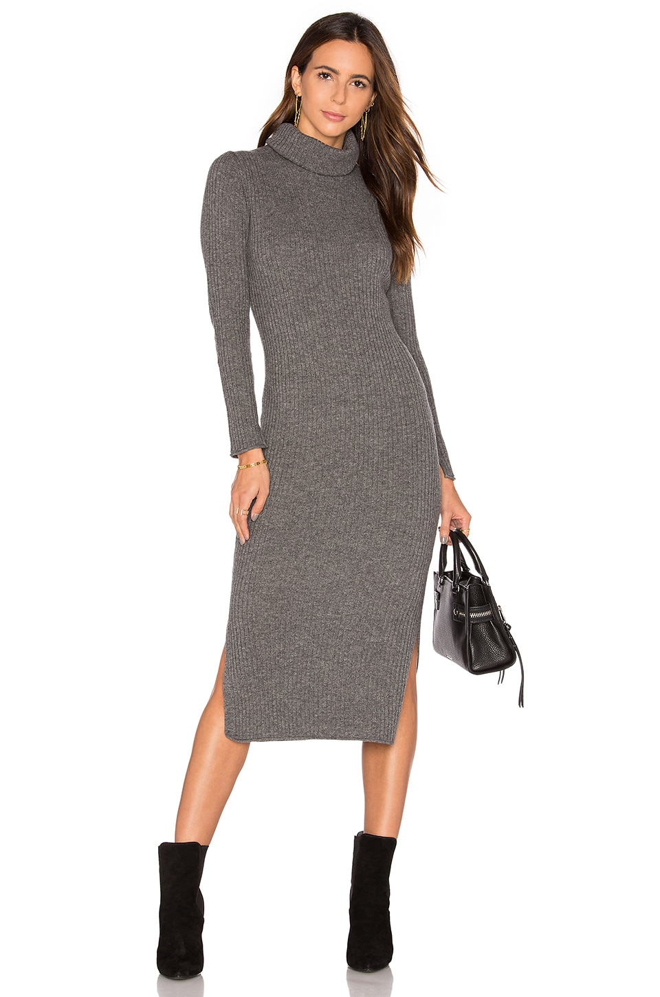 Alice + Olivia Gwen Rib Midi Dress in Charcoal