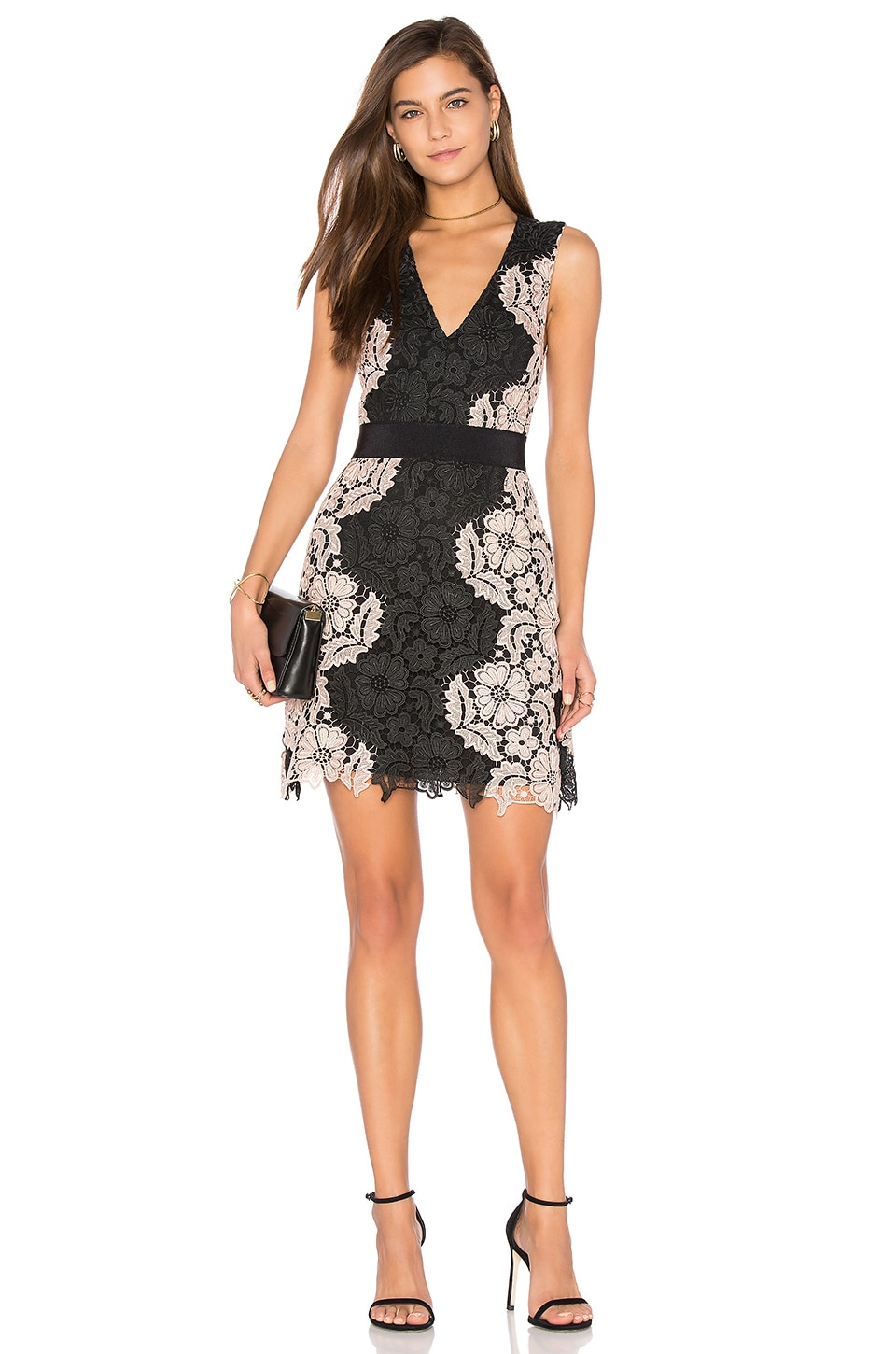 Alice + Olivia Patrice A Line Dress in Black & Nude Pink